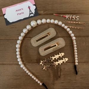 Pack hair clips and faux Pearl decor headband